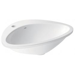 HANSGROHE AXOR Massaud asymetrické zápustné umývadlo s otvorom, bez prepadu, 585 x 469 mm, alpská biela