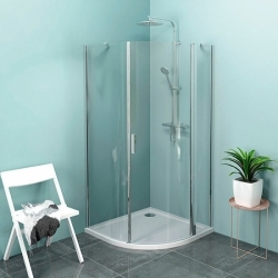 Polysan Zoom Line - Štvrťkruhová sprchová zástena 1000 x 1000 mm, číre sklo, leštený hliník