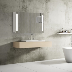 Bath Concept ZRKADLOVÁ SKRINKA Hapa Design VENEDIG 100 biela , 2 dvere s LED osvetlením